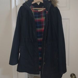 long puffer hollister jacket with plaid inside